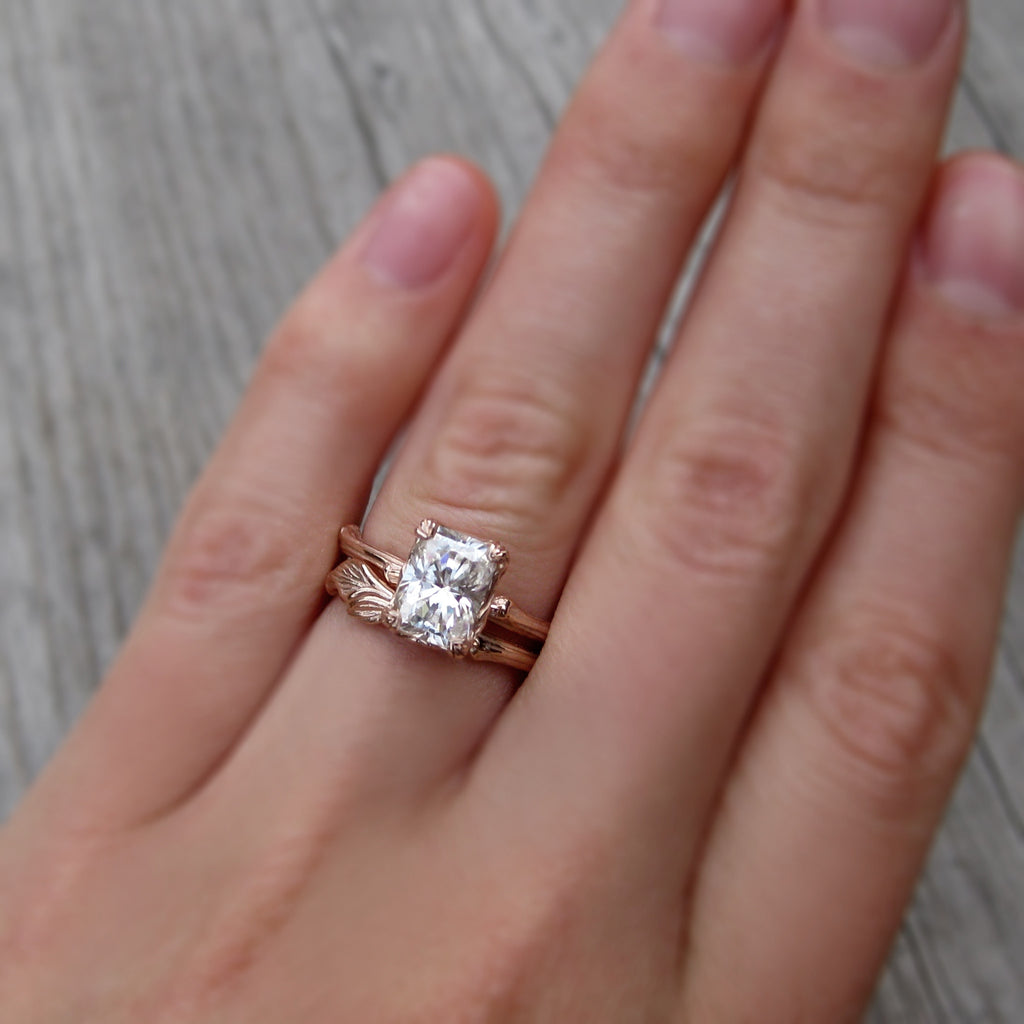 Radiant Forever One™ or Supernova™ Moissanite Twig Engagement Ring, Carved Floral Setting (1.8ct)