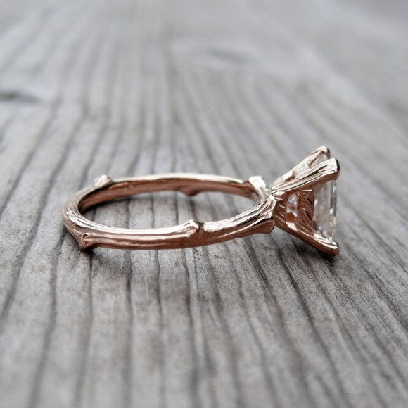 Forever Brilliant Moissanite Twig Solitaire Engagement Ring in Rose gold