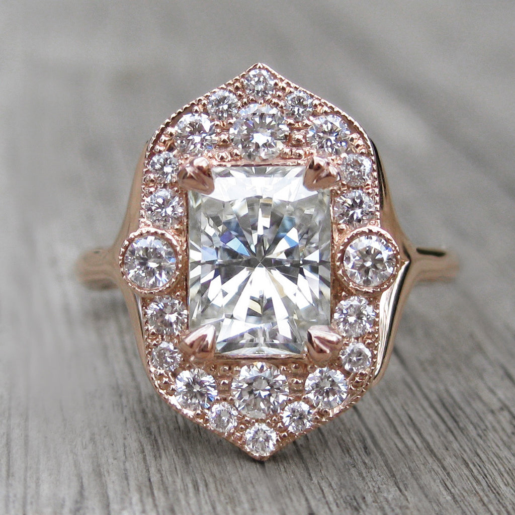 Radiant Forever One™ Moissanite Engagement Ring with Diamond Halo (2.3ct)