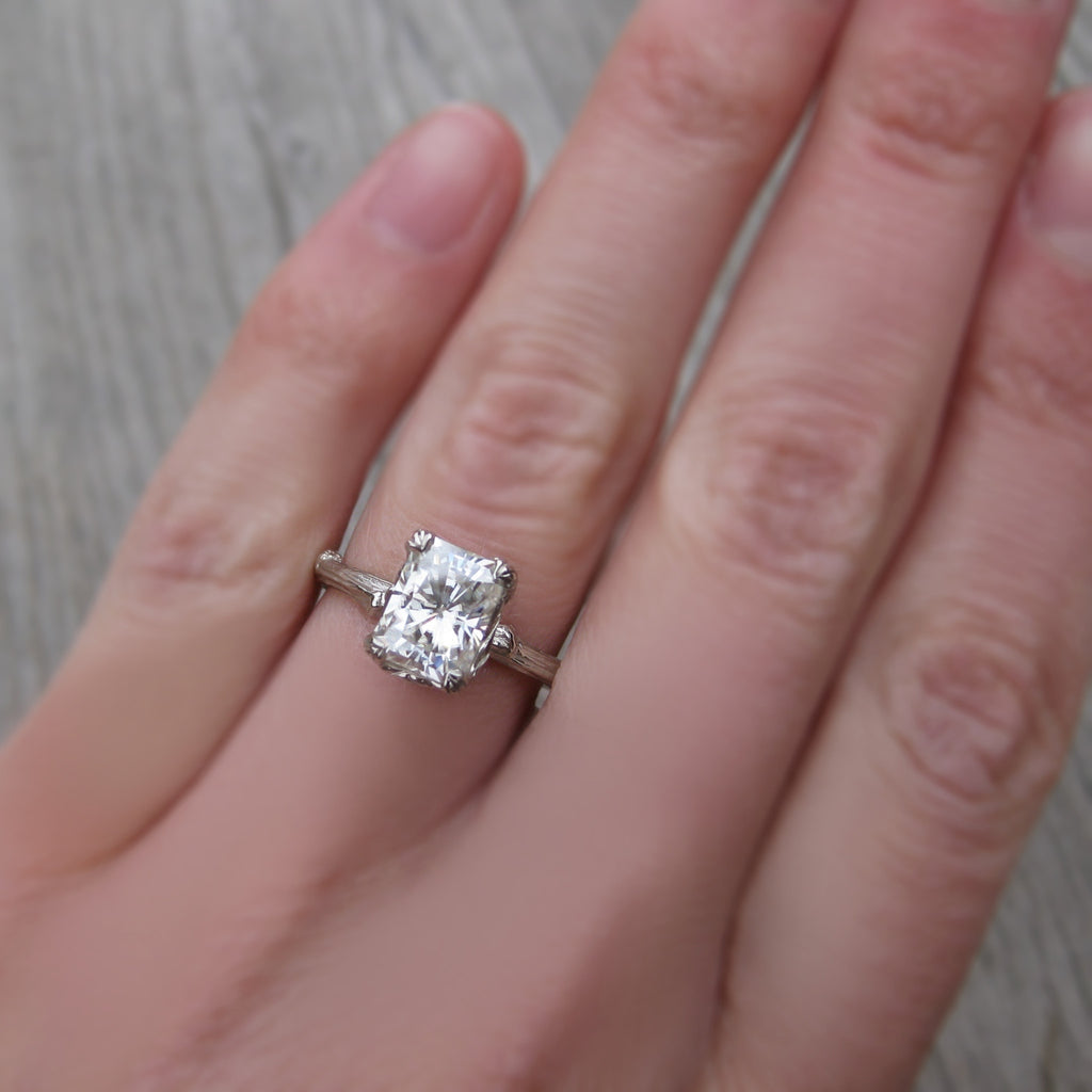 Radiant Moissanite Twig Engagement Ring | Kristin Coffin Jewelry
