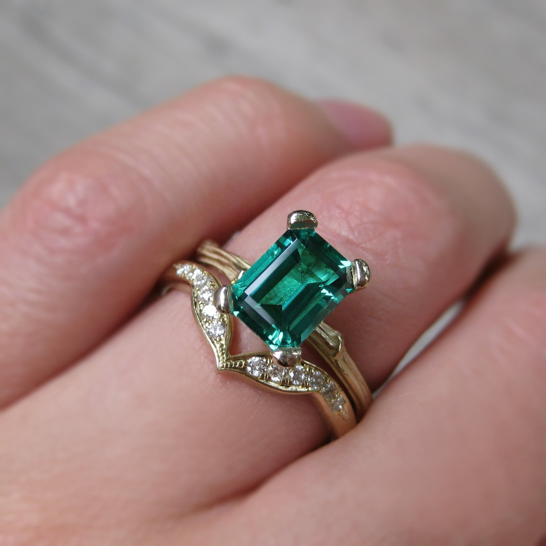 Emerald Twig Twig Engagement Ring; Chatham 1.4ct - Kristin Coffin ...