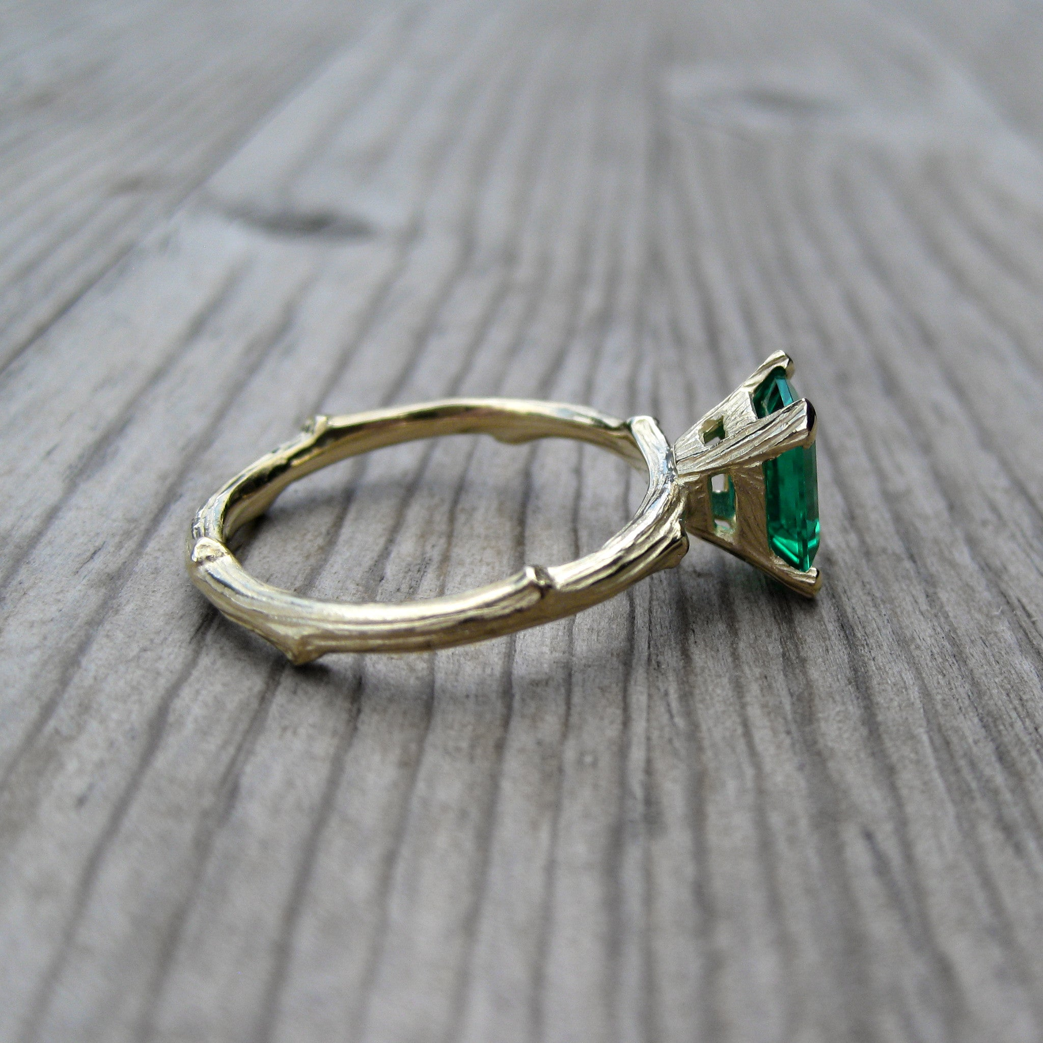 emerald and wedding ring shank silhouette stone in pave three center green cut platinum uneek with