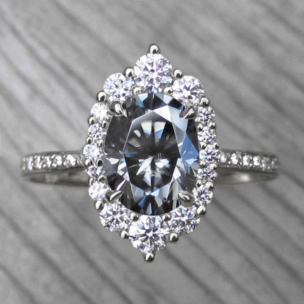 <center><strong>・SOFIA・</strong><br></center> Oval Iconic™ Grey Moissanite, Diamond Halo & Band (2.03ct+)