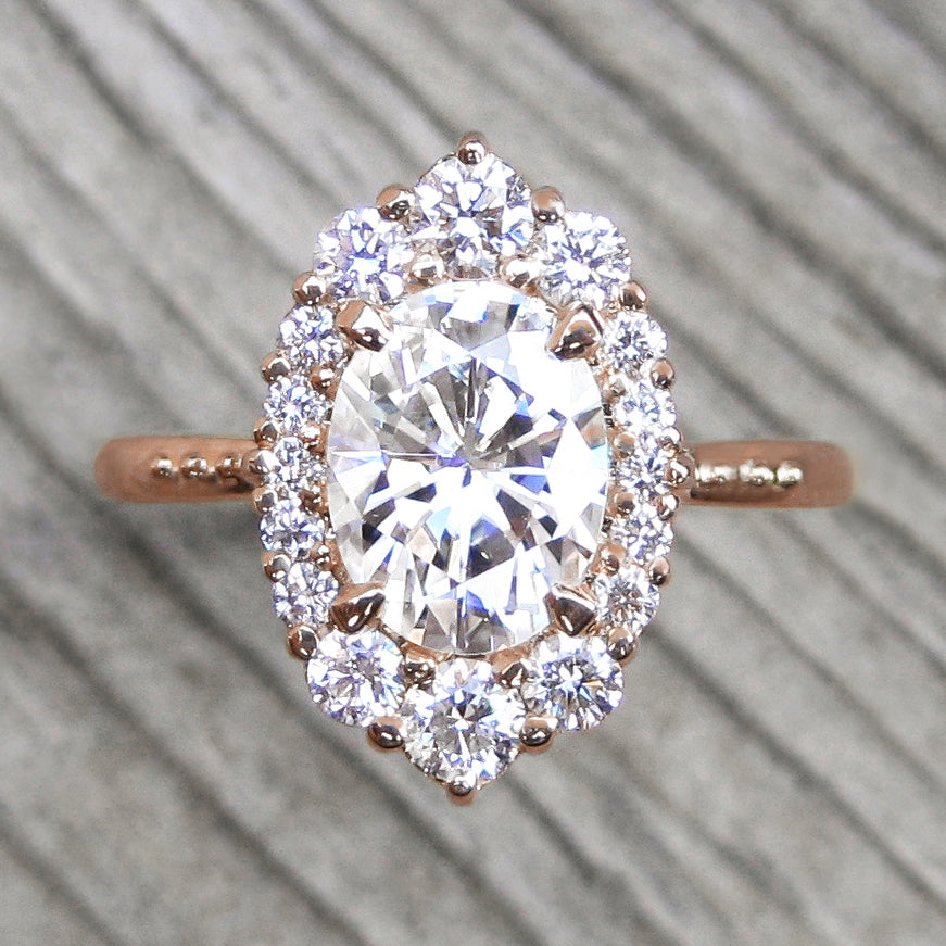 Vintage-inspired 1.5ct lab-grown oval diamond halo engagement ring in rose gold