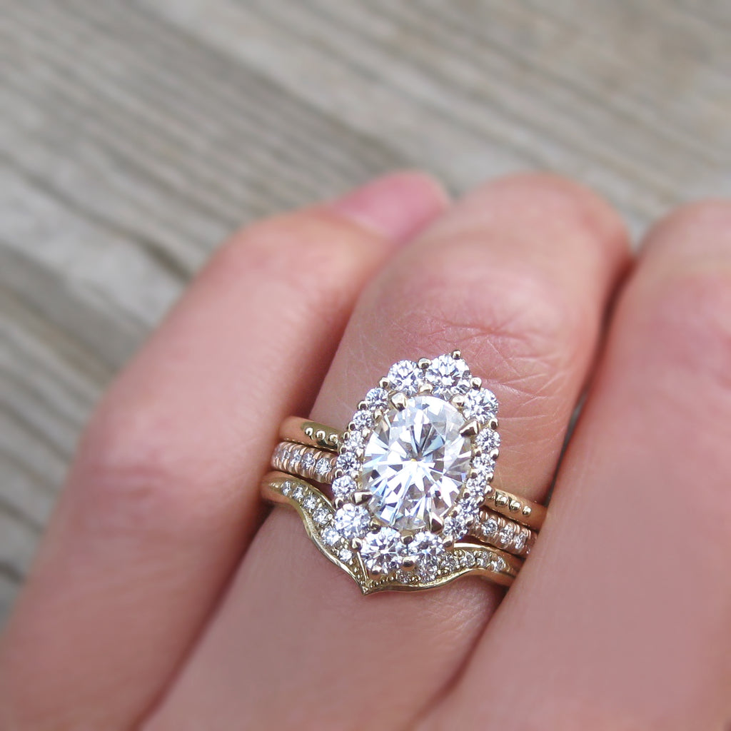 low-profile and stackable vintage oval lab grown diamond halo engagement ring