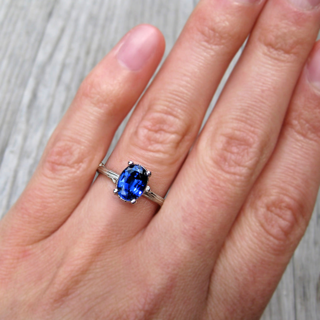 Oval Cultured Blue Sapphire, Twig Engagement Ring; 1.75ct