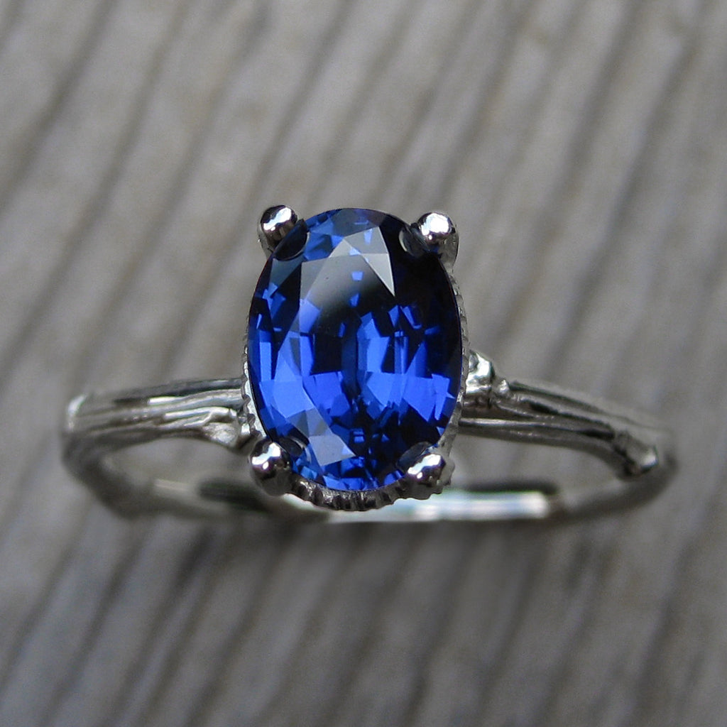 Oval Blue Sapphire Twig Engagement Ring, Cultured (1.75ct)