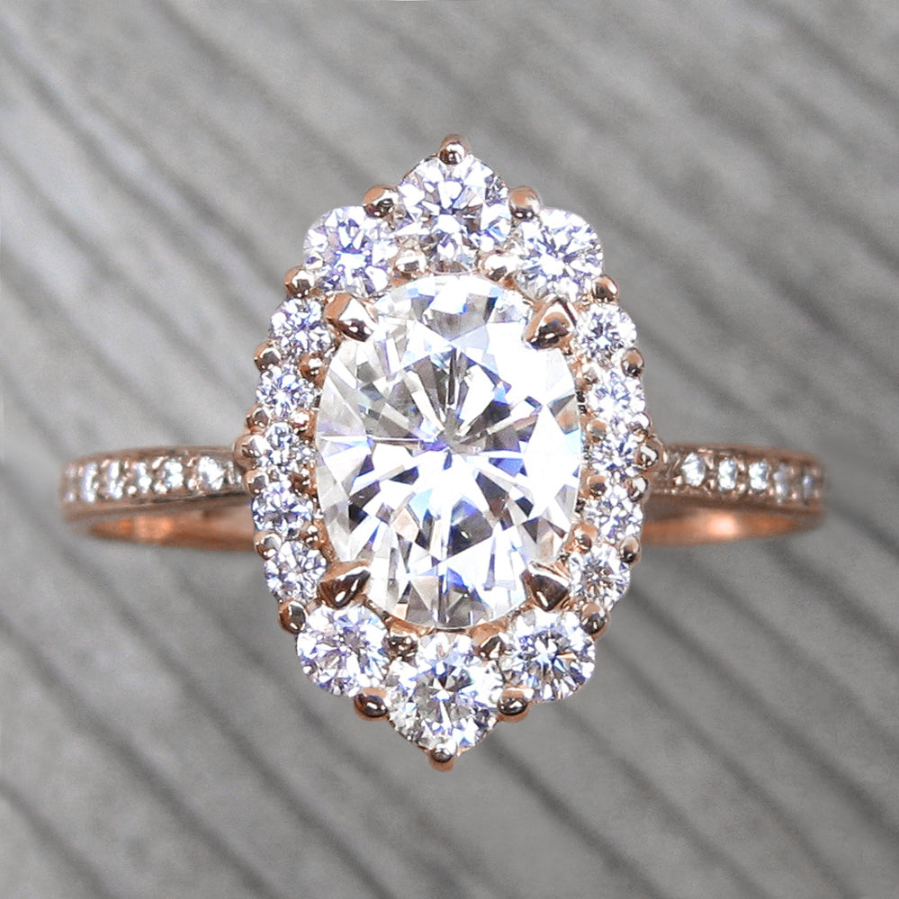 <center><strong>・SOFIA・</strong><br></center>Oval Moissanite, Diamond Halo & Band (2.04ct+)