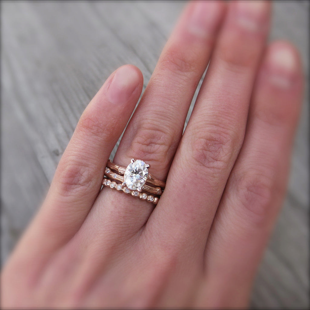 Stackable twig engagement ring with oval cut moissanite with branch wedding band
