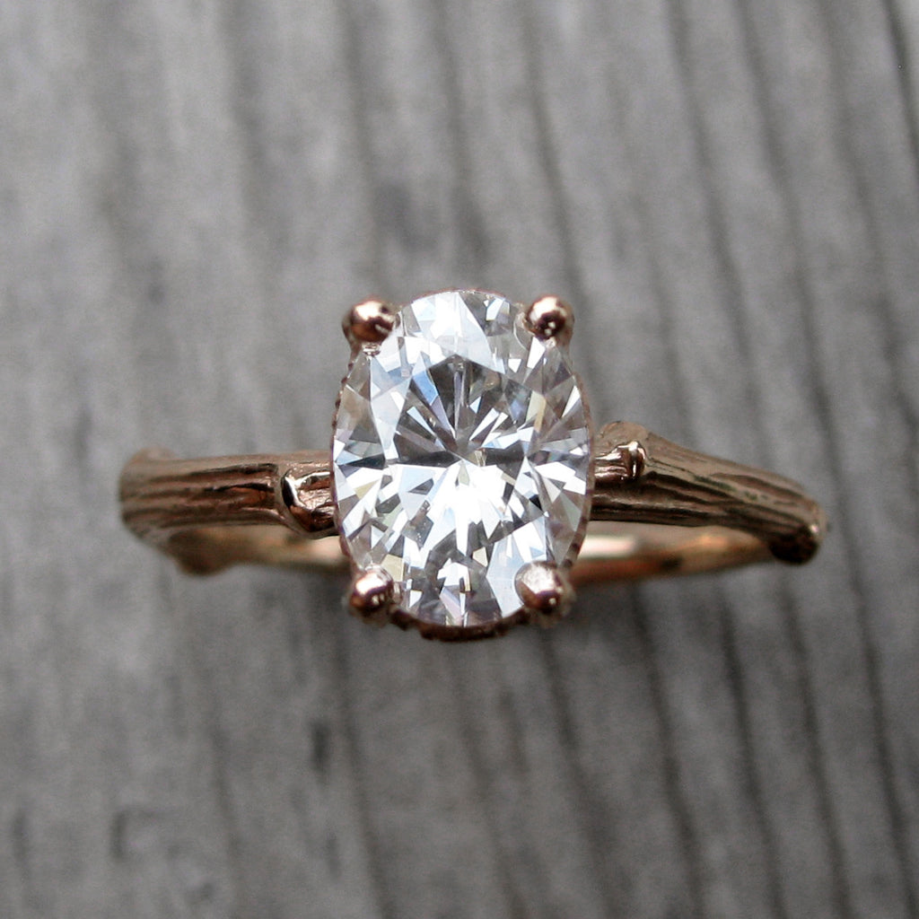 Oval Forever One Moissanite Twig Engagement Ring in Rose Gold, 1.5carat