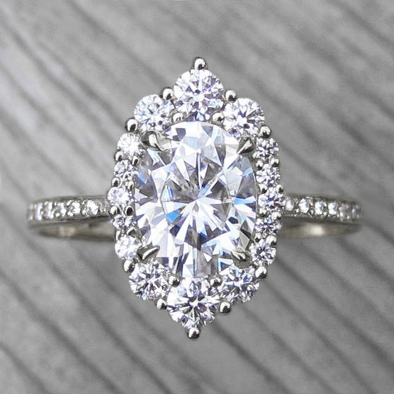 <center><strong>・SOFIA・</strong><br></center>Oval Moissanite Center, Diamond Halo (2.04ctw, Ready to Ship)
