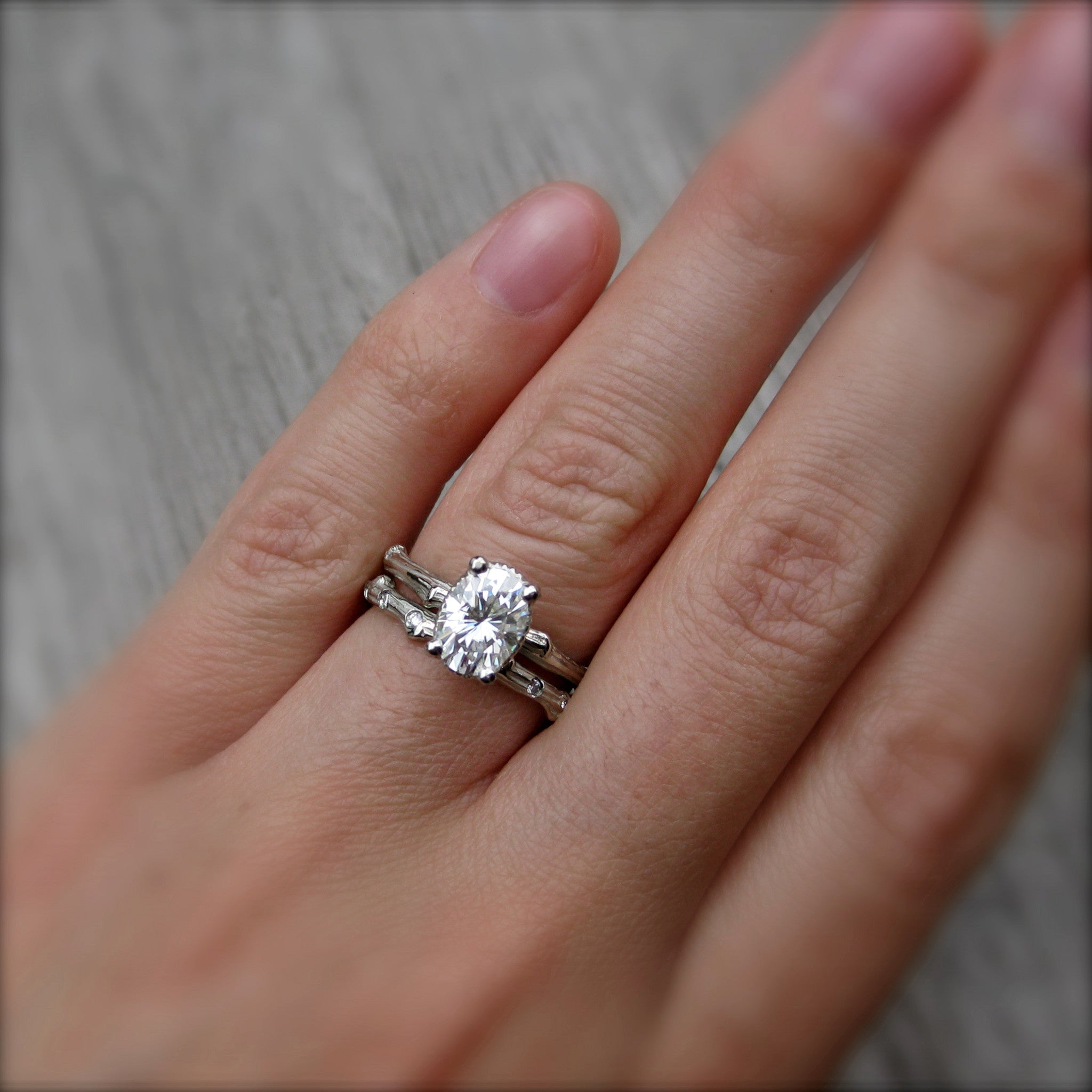 ... Oval Forever Brilliant Moissanite Twig Engagement Ring, 1.5carat ...