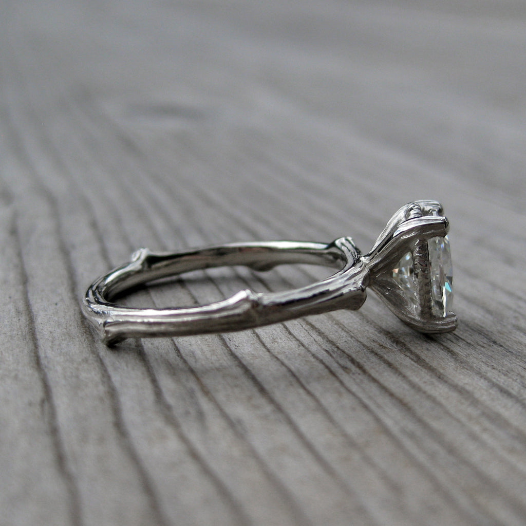 Oval Forever One™ Moissanite Twig Engagement Ring (Ready to Ship)