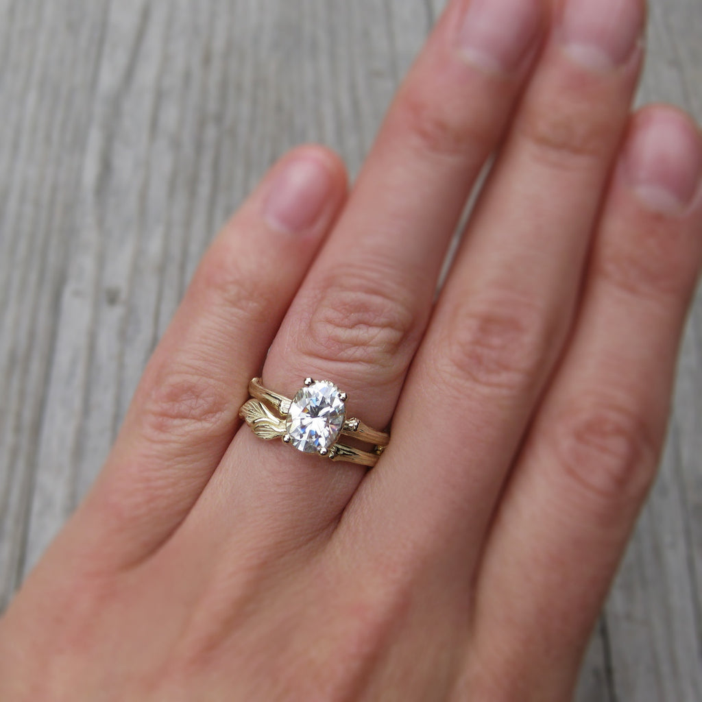 Stackable twig engagement ring with oval cut moissanite with twig and leaf wedding band