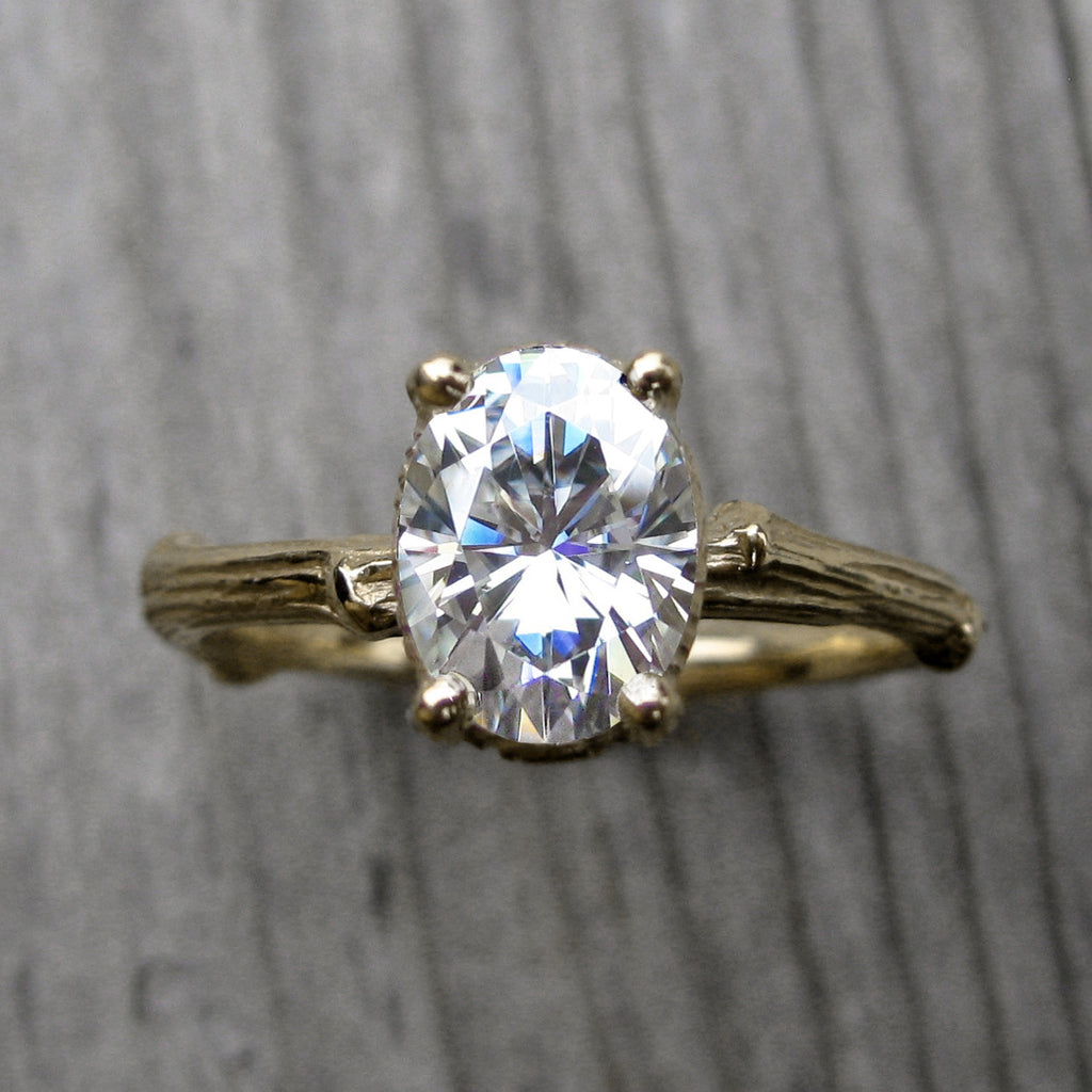 Oval Forever One Moissanite Twig Engagement Ring in Yellow Gold, 1.5carat