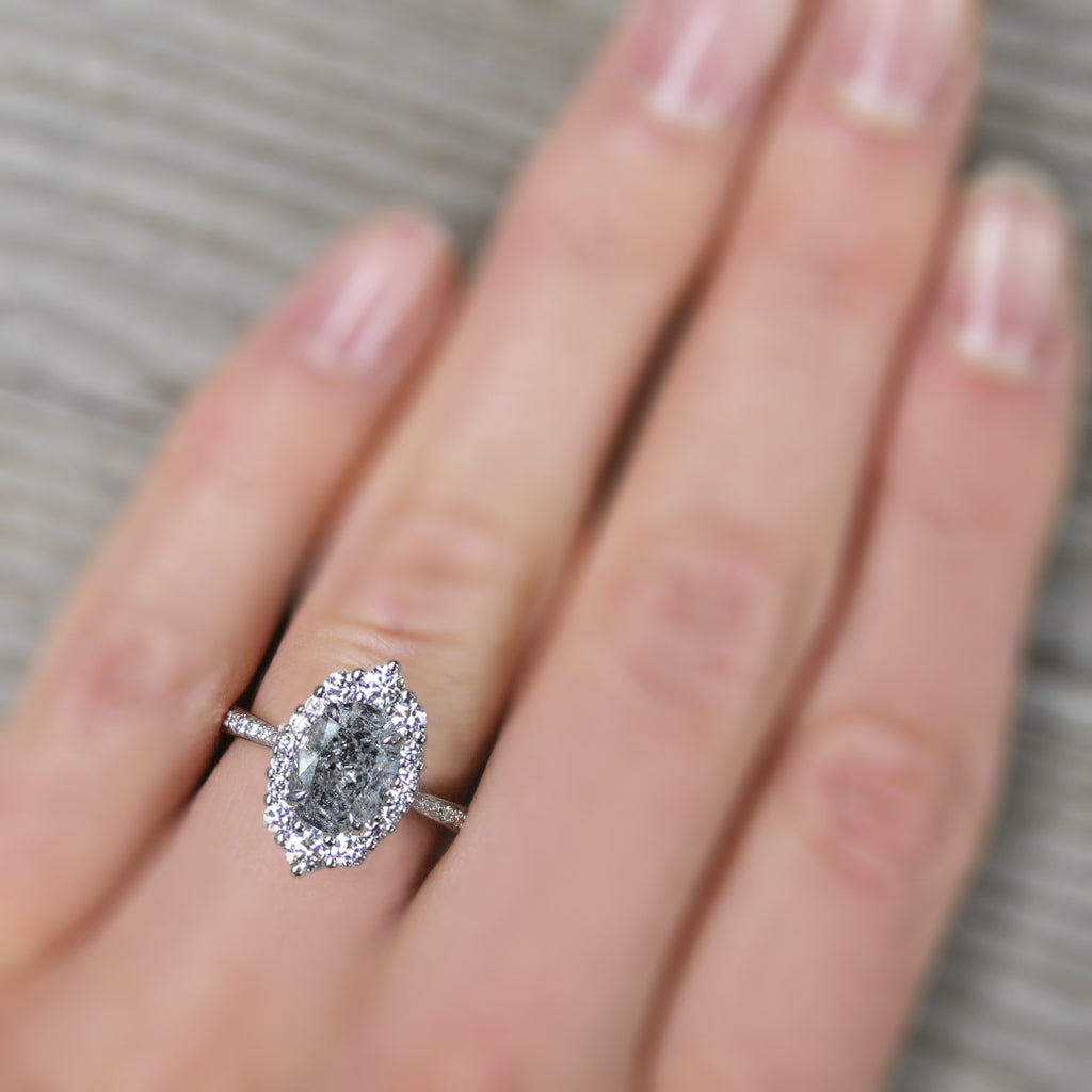 vintage inspired oval grey diamond halo engagement ring