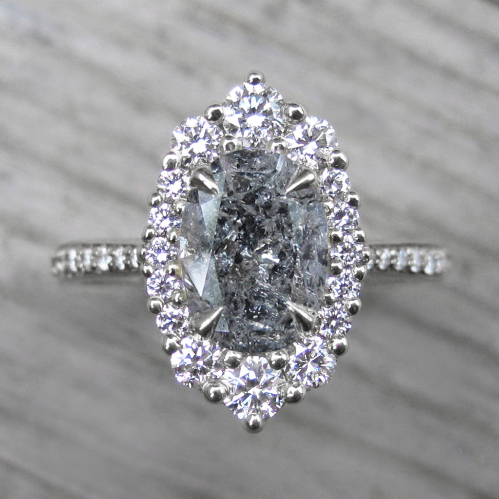 oval salt + pepper diamond halo engagement ring