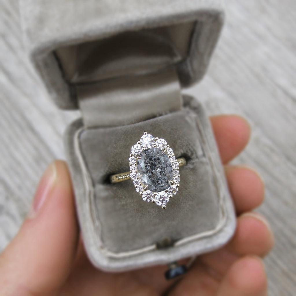 antique inspired oval grey diamond halo engagement ring