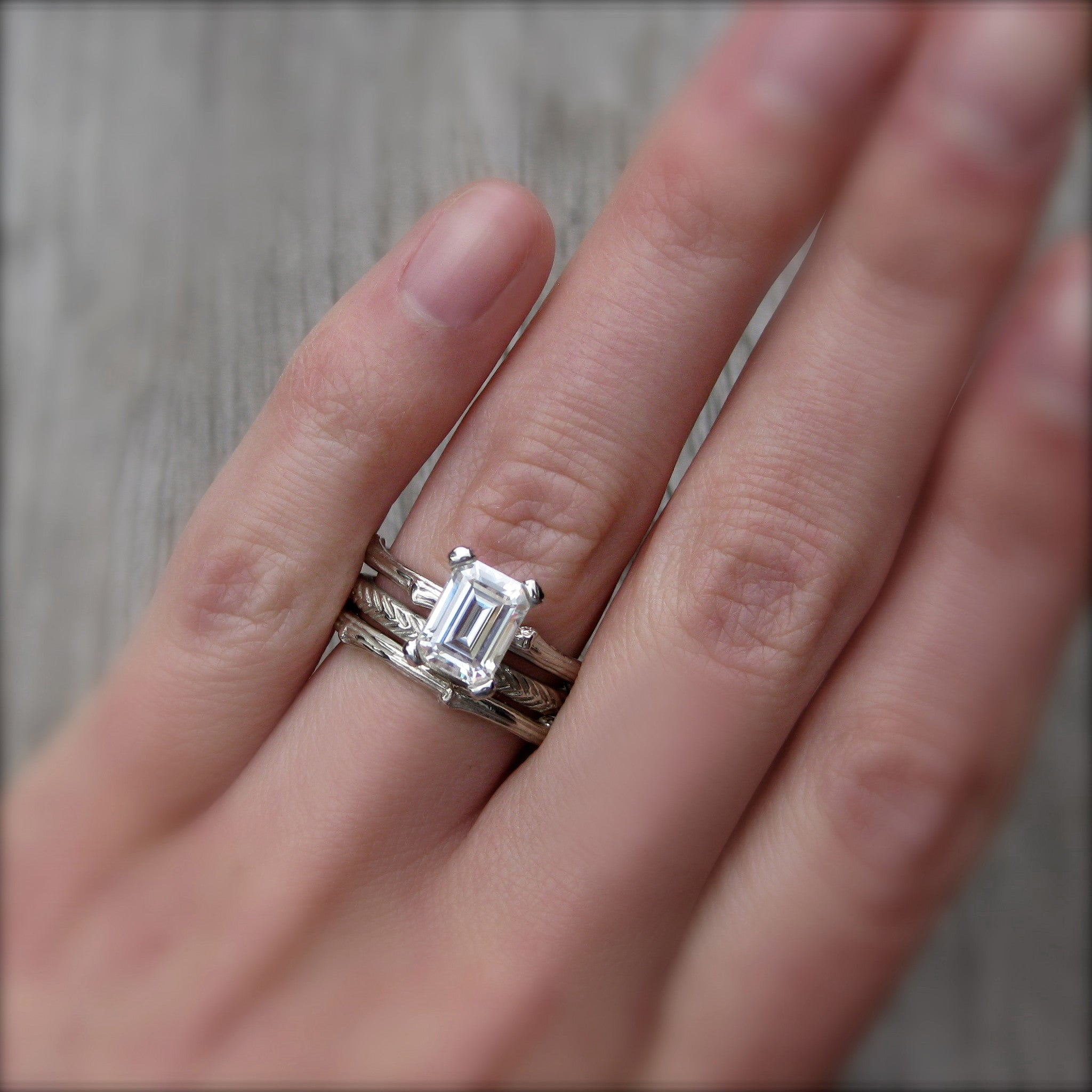 ... Emerald Cut Forever Brilliant Moissanite Twig Engagement Ring;  1.75carat ...