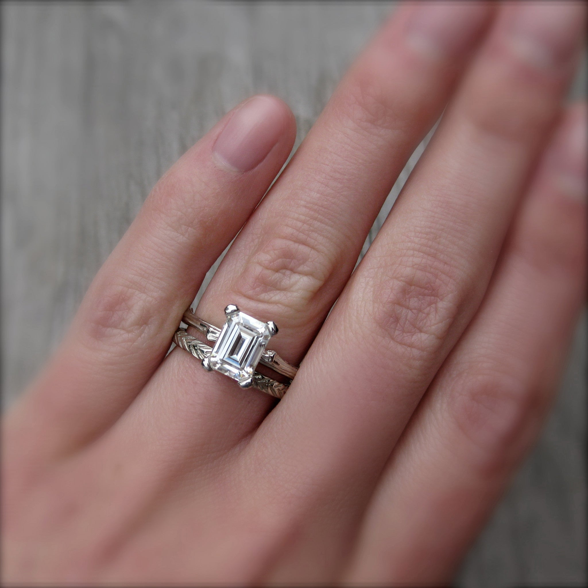 Emerald Cut Forever One or Supernova Moissanite Twig Engagement Ring