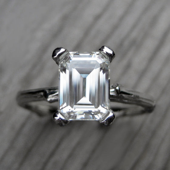 14k White Gold Emerald Cut Forever One Moissanite Twig Engagement Ring; 1.75carat