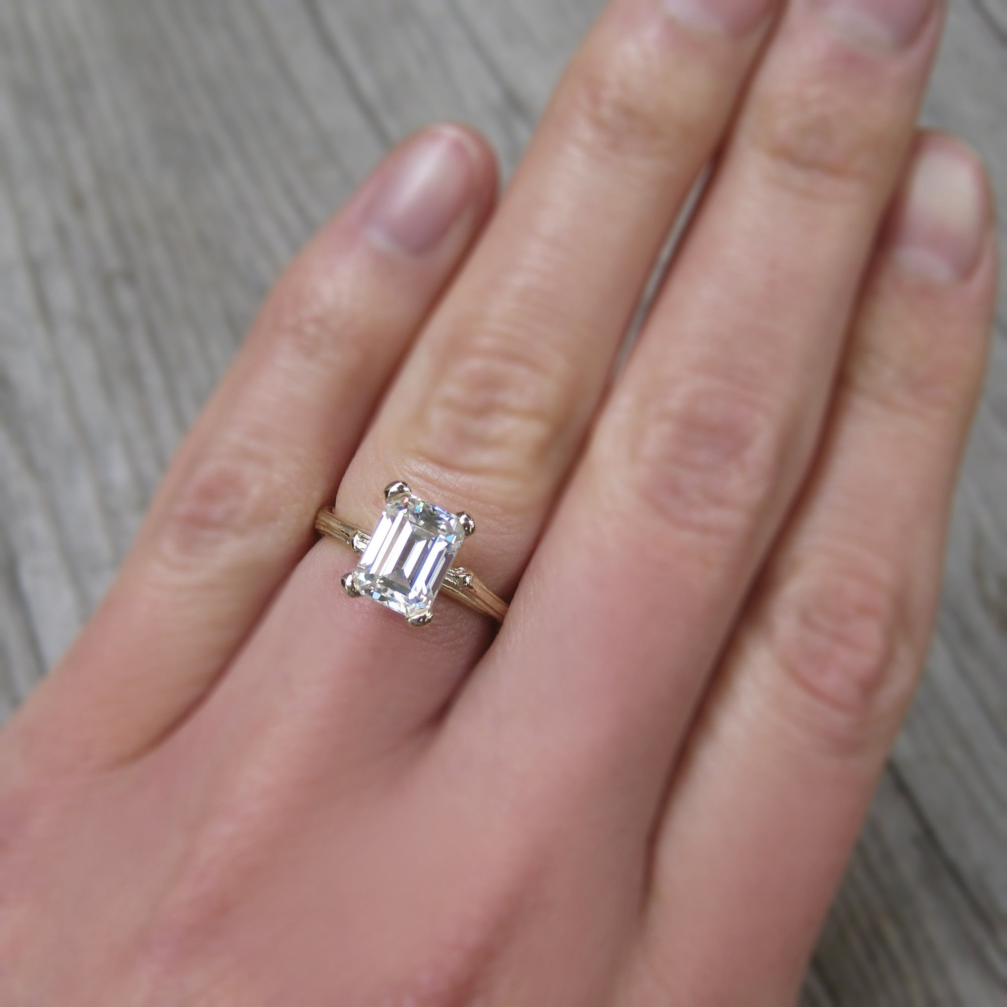 emerald cut forever one or supernova moissanite twig engagement