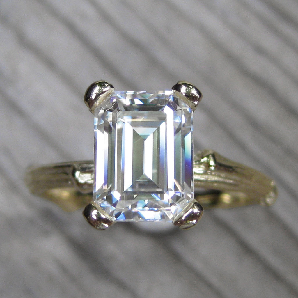 14k Yellow Gold Emerald Cut Forever One Moissanite Twig Engagement Ring; 1.75carat