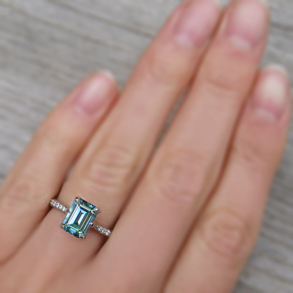 <center><strong>・NAOMI・</strong><br></center>Emerald Cut Aqua-Teal Iconic™ Moissanite, Twig Textured Diamond Band (1.75ct Center)