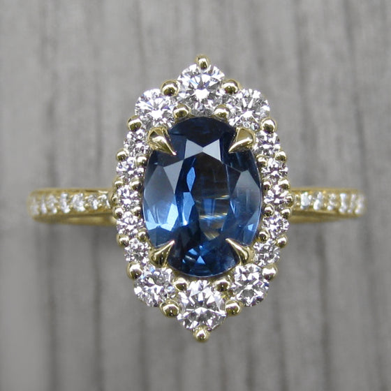 <center><strong>・SOFIA・</strong><br></center>Oval Montana Sapphire, Diamond Halo & Band (1.69ct, Ready to Ship)