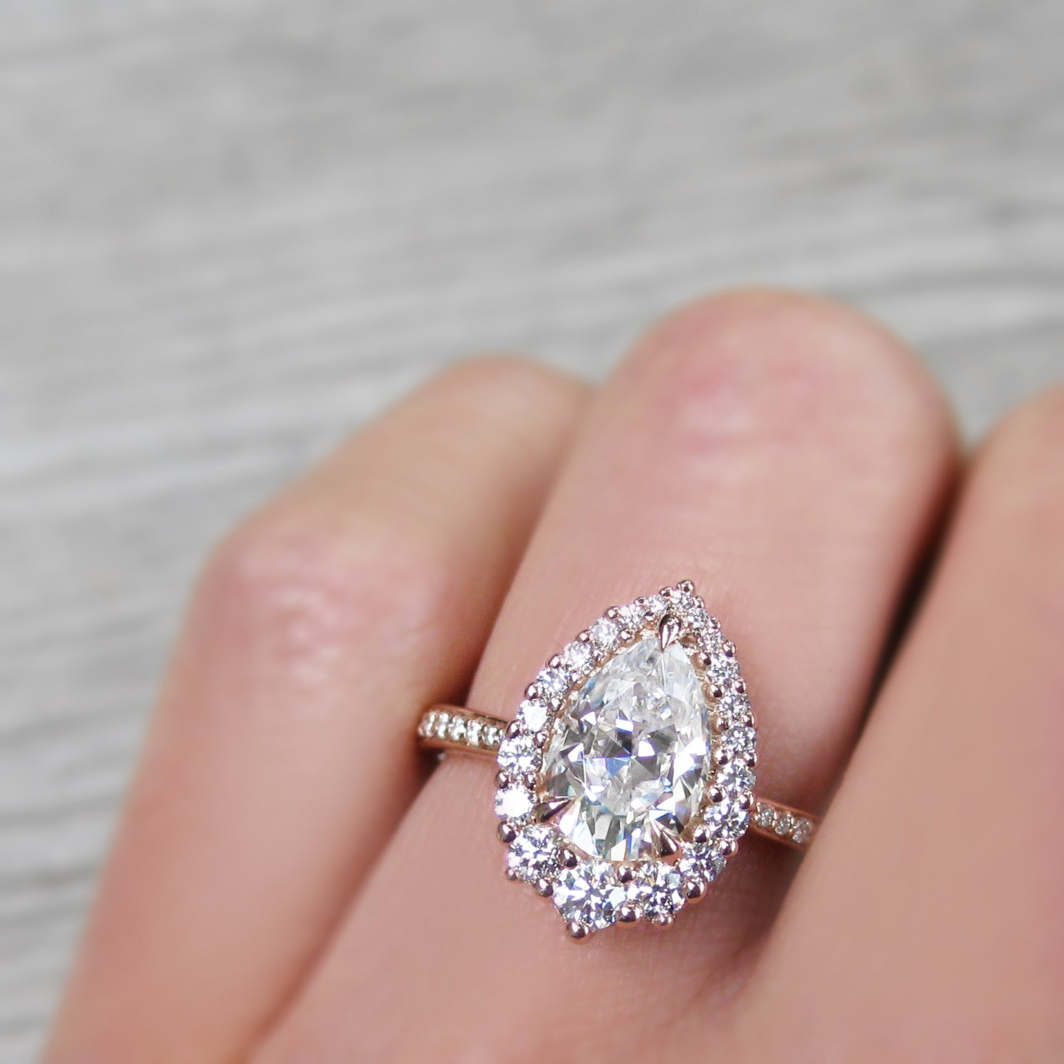 Pear Forever One Moissanite Engagement Ring with Diamond Halo & Pavé ...