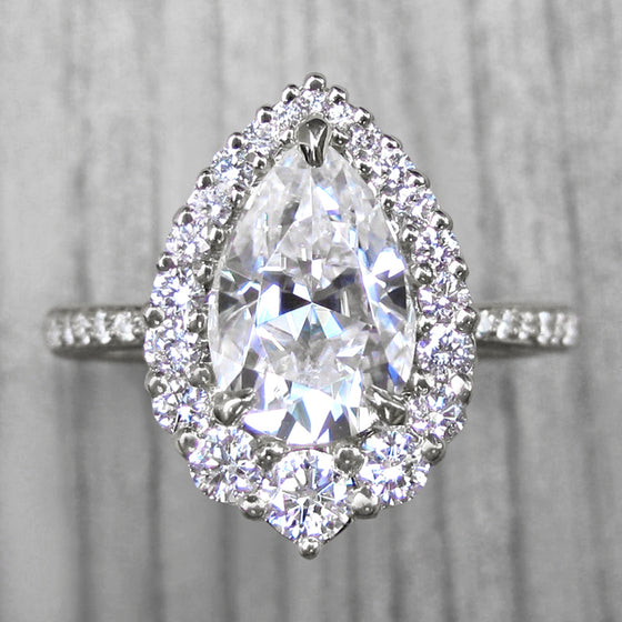 <center><strong>・CELESTE・</strong><br></center>Pear Moissanite Center, Diamond Halo (1.94ctw, Ready to Ship)