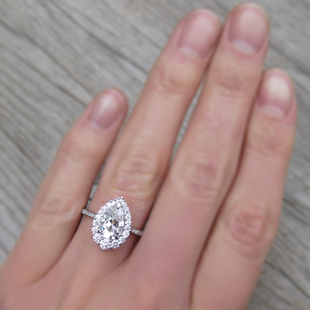 Celeste Pear Moissanite & Diamond Halo Ring with Pavé Band