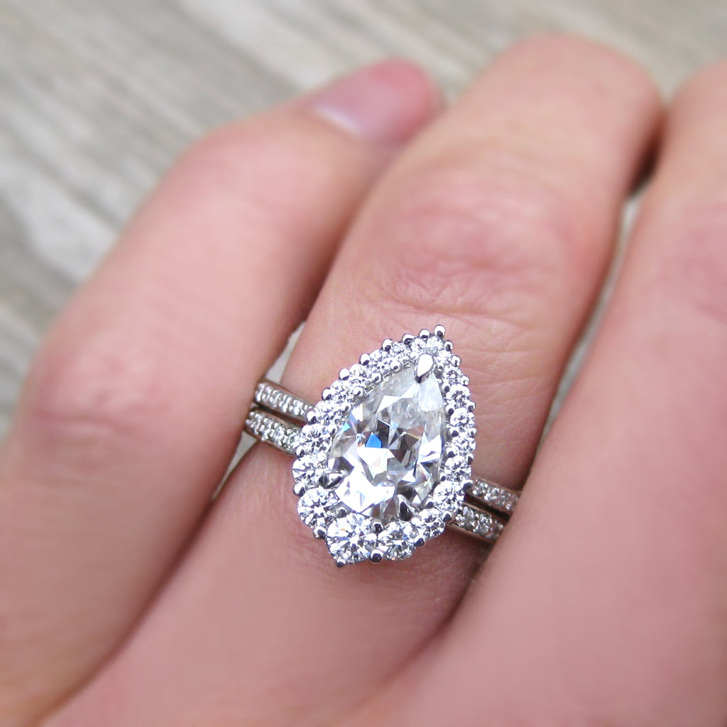 Pear Halo Engagement Ring with Pavé Diamond Band, by Kristin Coffin Jewelry