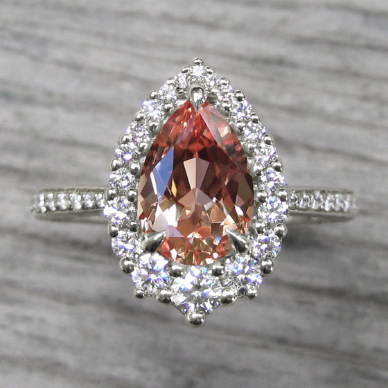 <center><strong>・CELESTE・</strong><br></center>Pear Peach Sapphire, Diamond Halo & Band (2.34ct+)