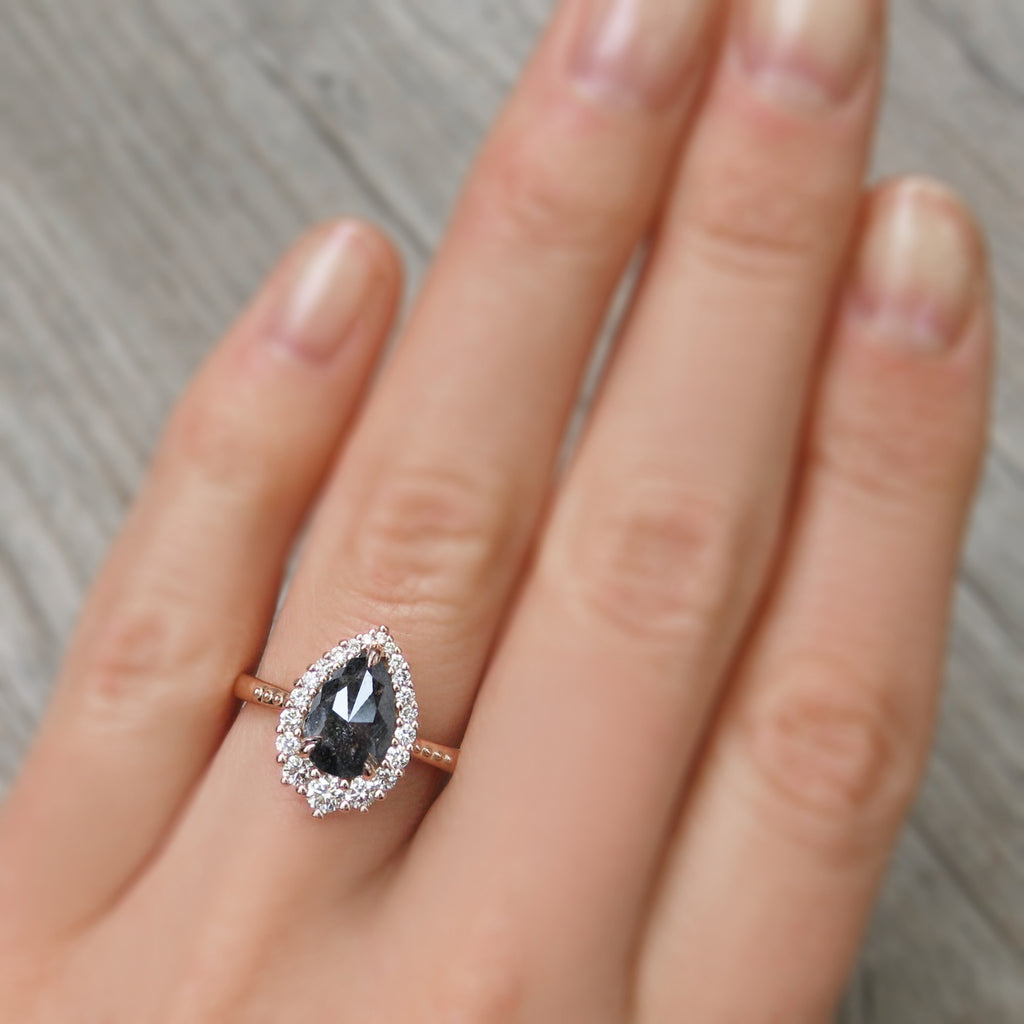 grey pear diamond halo ring in rose gold