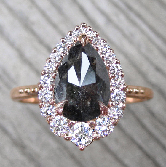 pear salt + pepper grey diamond halo engagement ring in rose gold