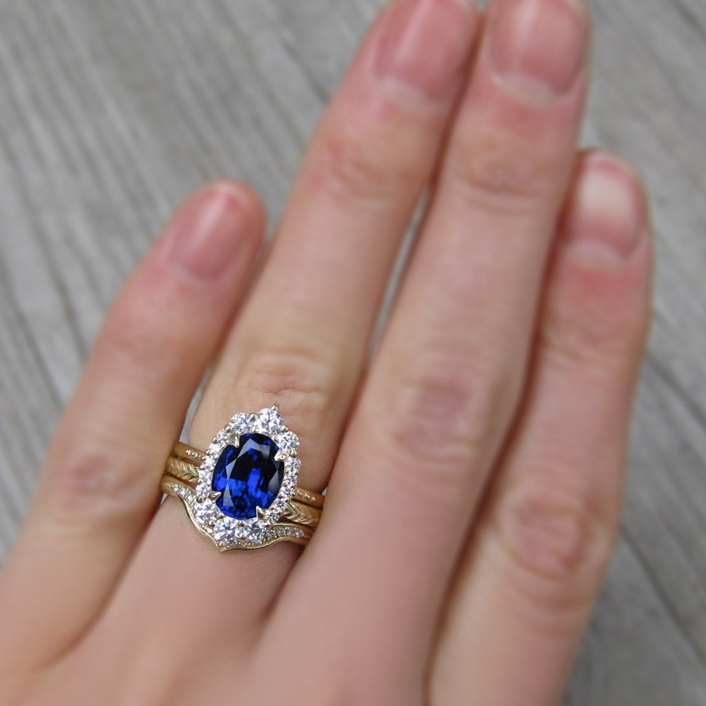 Low-Profile and Stackable Oval Blue Sapphire Halo Ring, 3+ carats.
