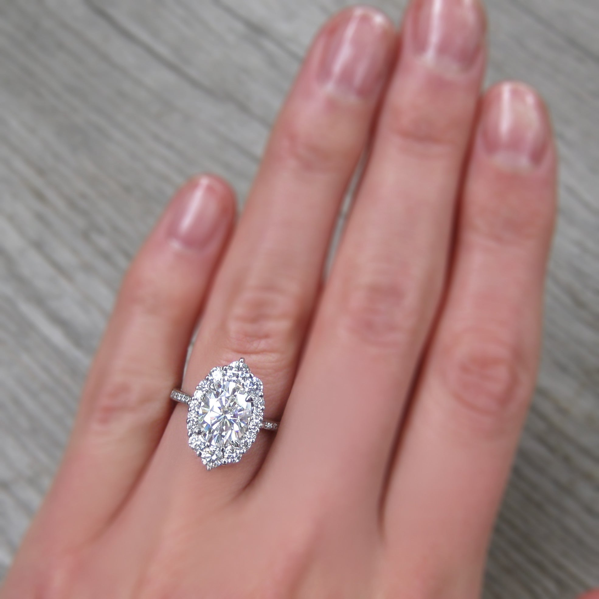 Forever One Moissanite Engagement Ring With Diamond Halo