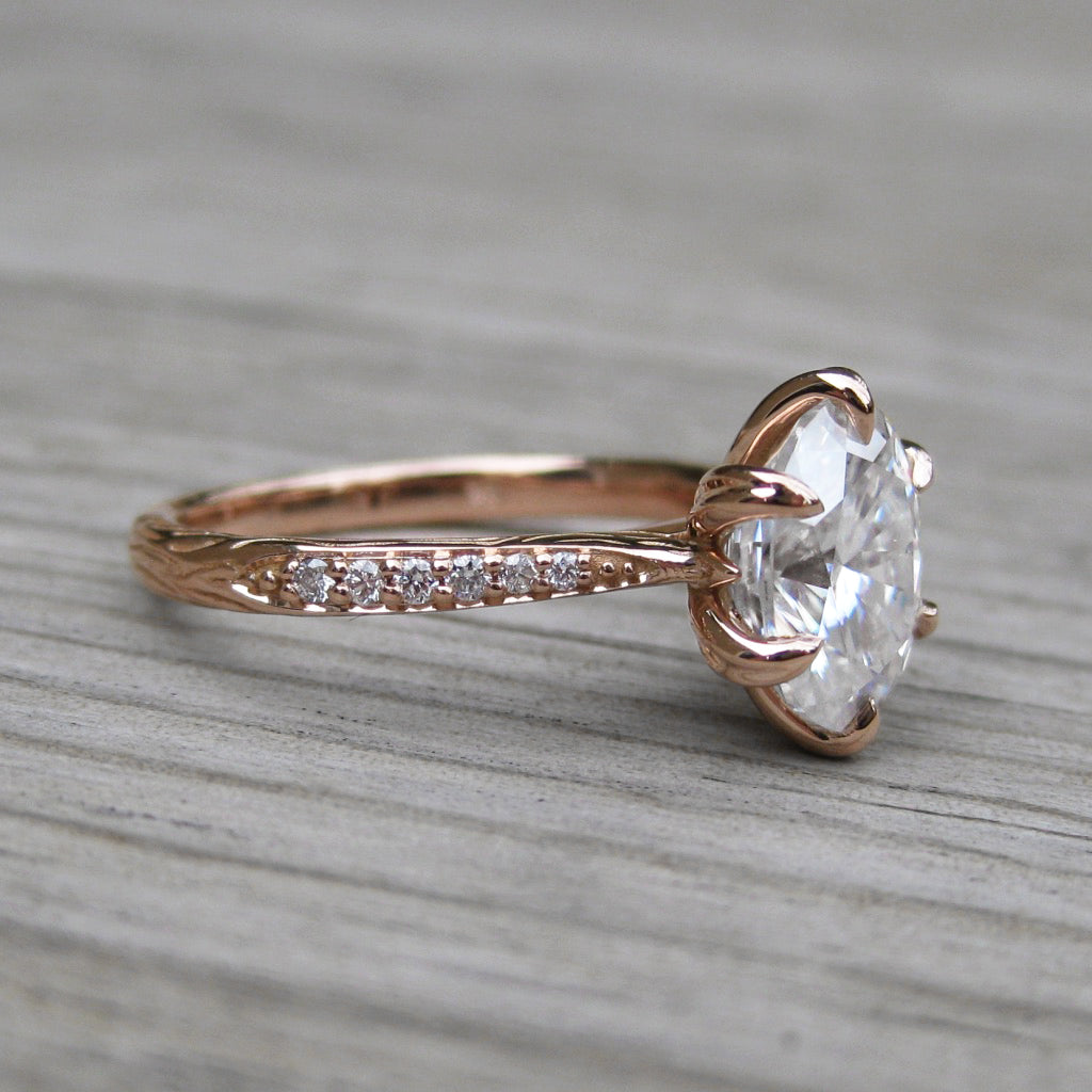 <center><strong>・LAYLA・</strong><br></center>Oval Moissanite Center, Twig Textured Diamond Band (2.1ct Center, Ready to Ship)