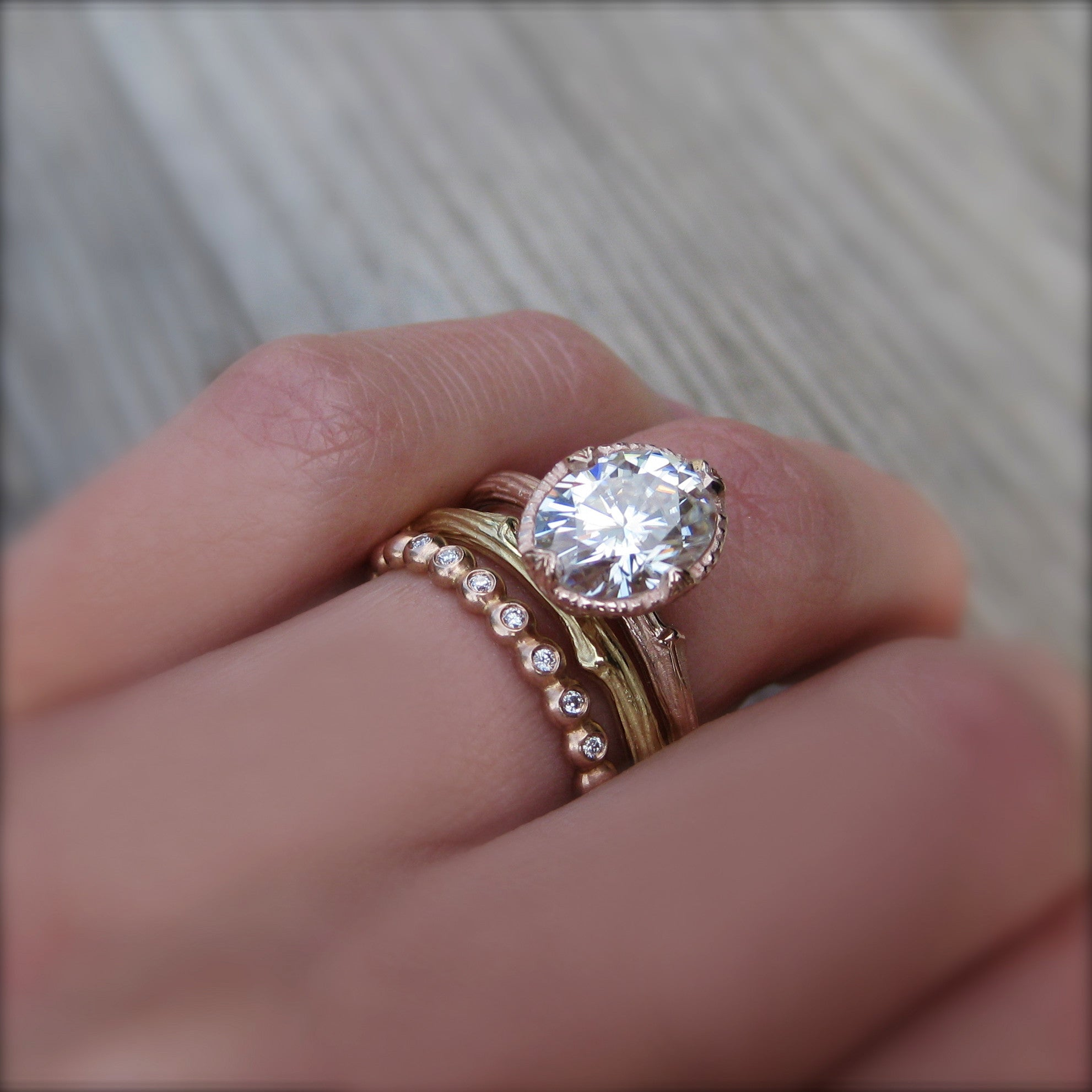 stacked engagement armentor eternity wedding jewelers rings solitaire pin ring round band