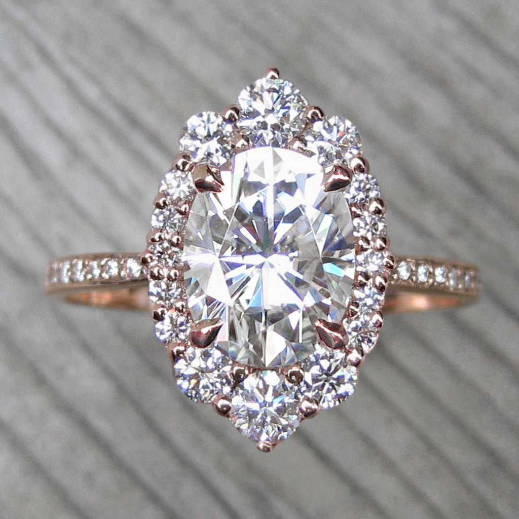 Oval vintage moissanite halo ring + conflict-free diamonds in rose gold