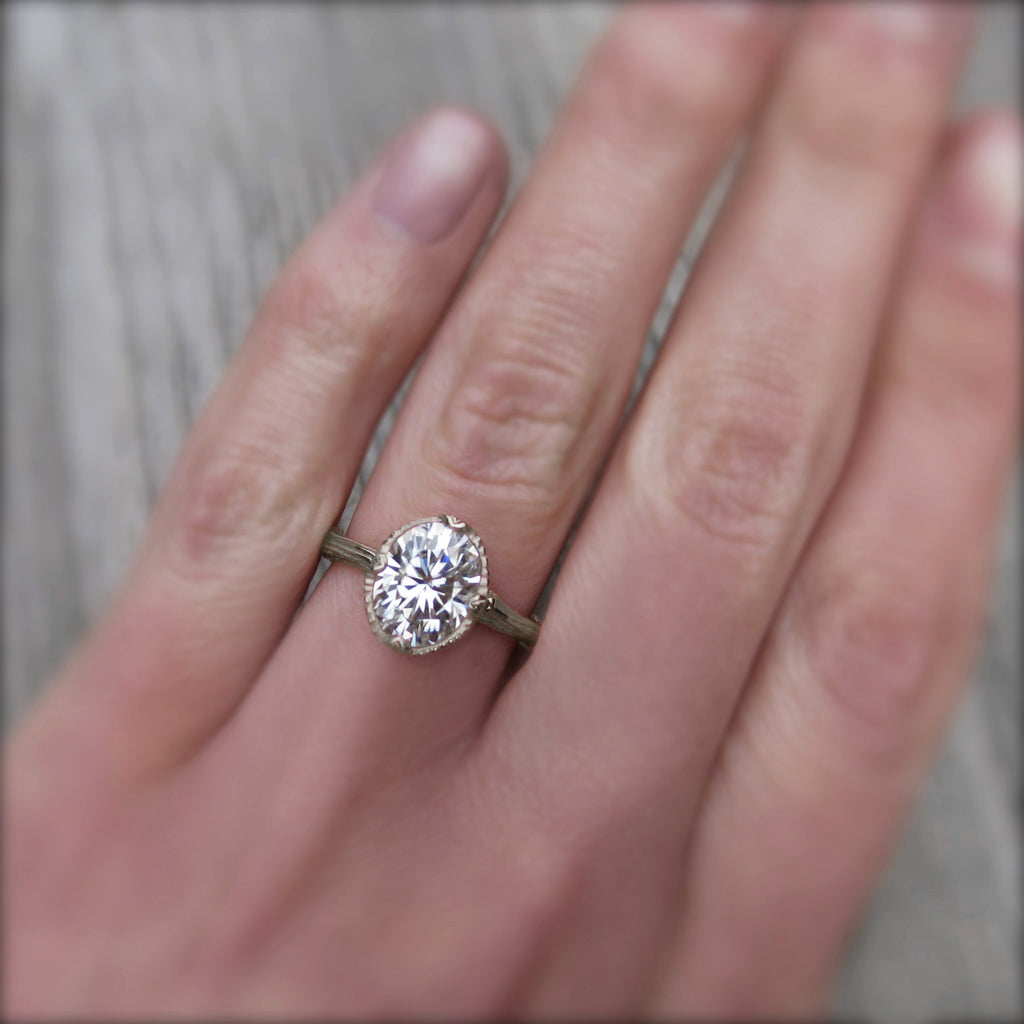 2ct Forever One oval cut moissanite engagement ring in 14k white gold