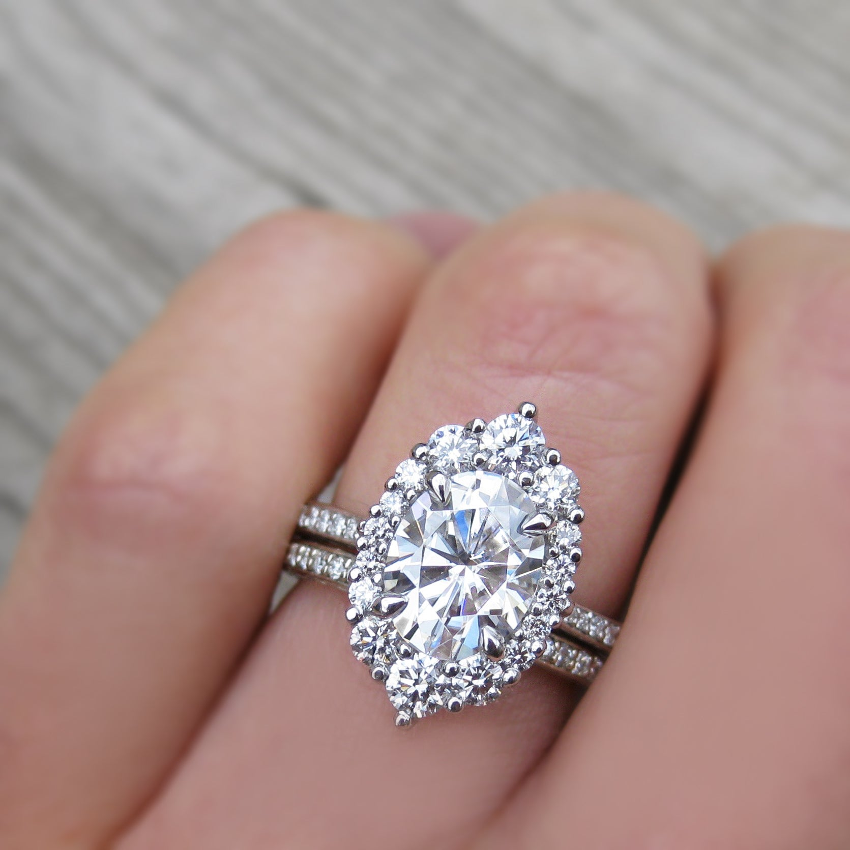 Forever One Moissanite Engagement Ring with Diamond Halo & Pavé Band ...
