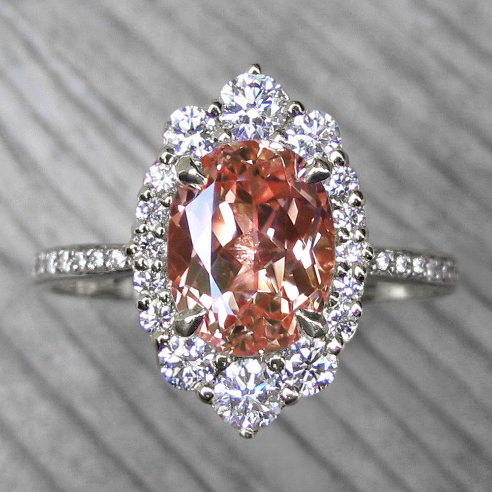 <center><strong>・SOFIA・</strong><br></center>Oval Peach Sapphire, Diamond Halo & Band (3.38ct+)