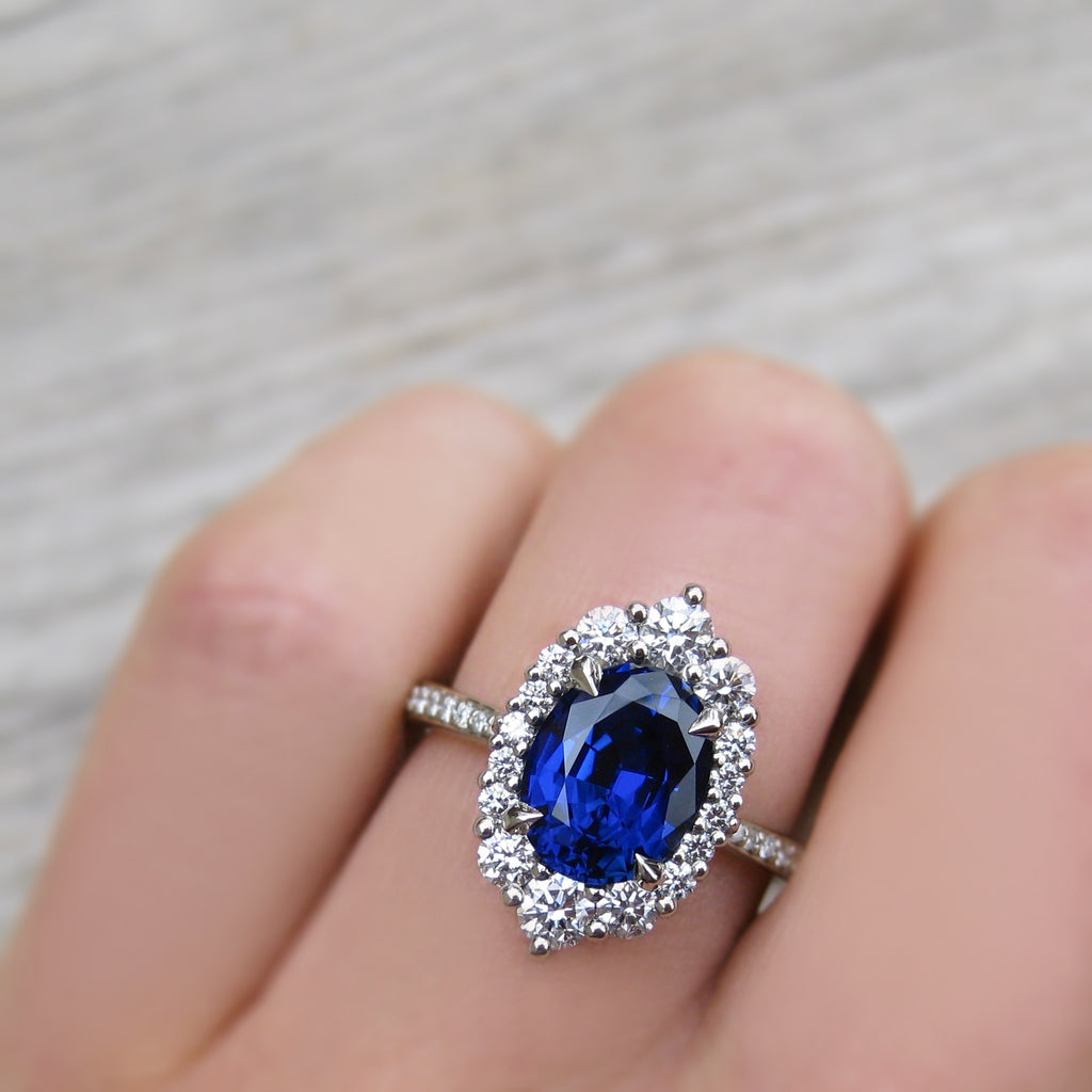 <center><strong>・SOFIA・</strong><br></center>Oval Blue Sapphire, Diamond Halo & Band (3.38ct+)