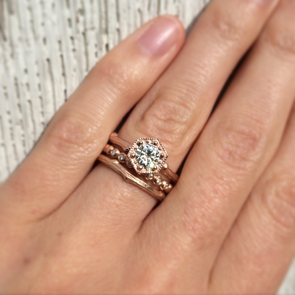 Forever Brilliant™ Moissanite Hexagon Twig Engagement Ring (Ready to Ship)