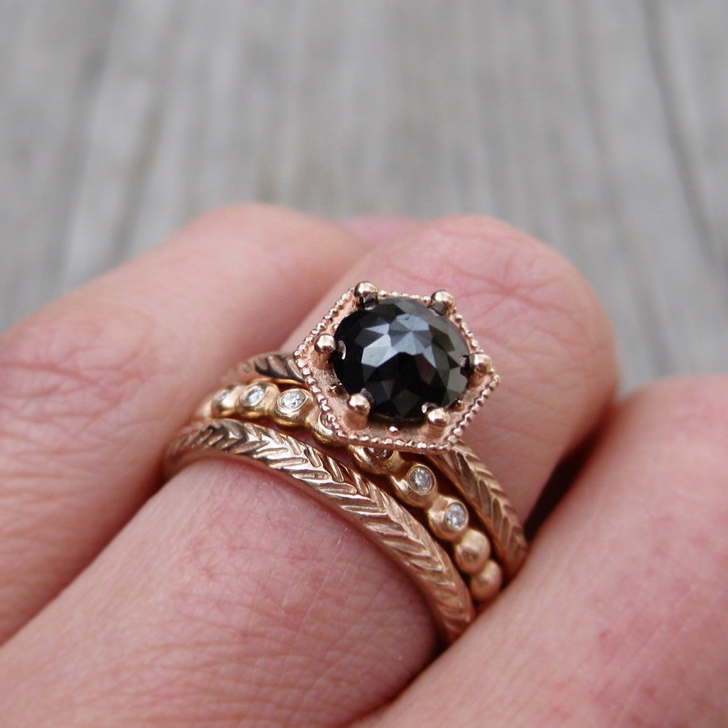 Rose Cut Black Diamond Hexagon Feather Ring | Kristin Coffin Jewelry
