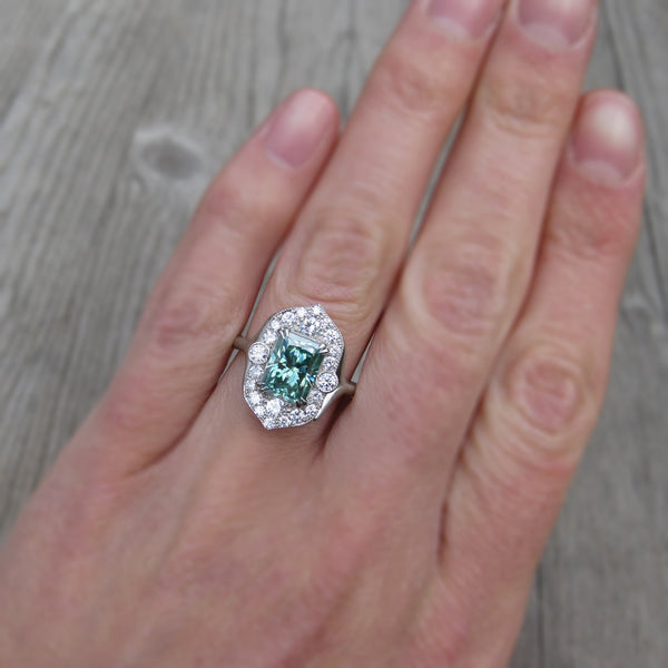 Radiant Green Moissanite Engagement Ring with Diamond Halo (2.3ct)