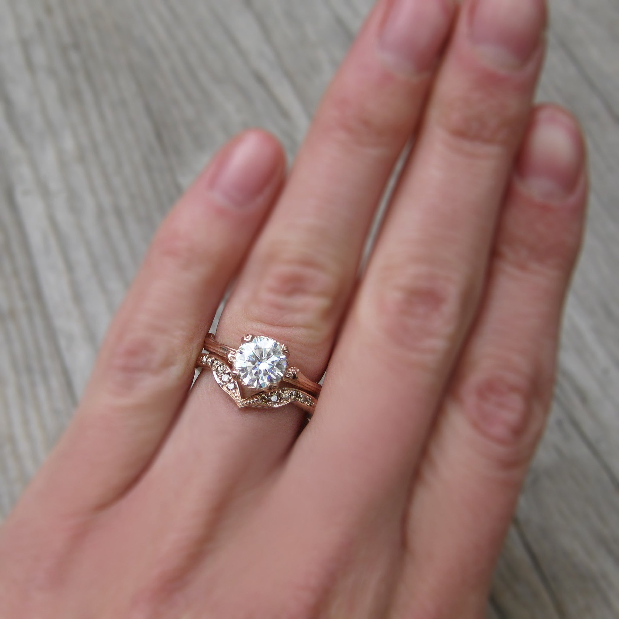 Lab-Grown Diamond Twig Engagement Ring; 1.02ct - Kristin Coffin Jewelry