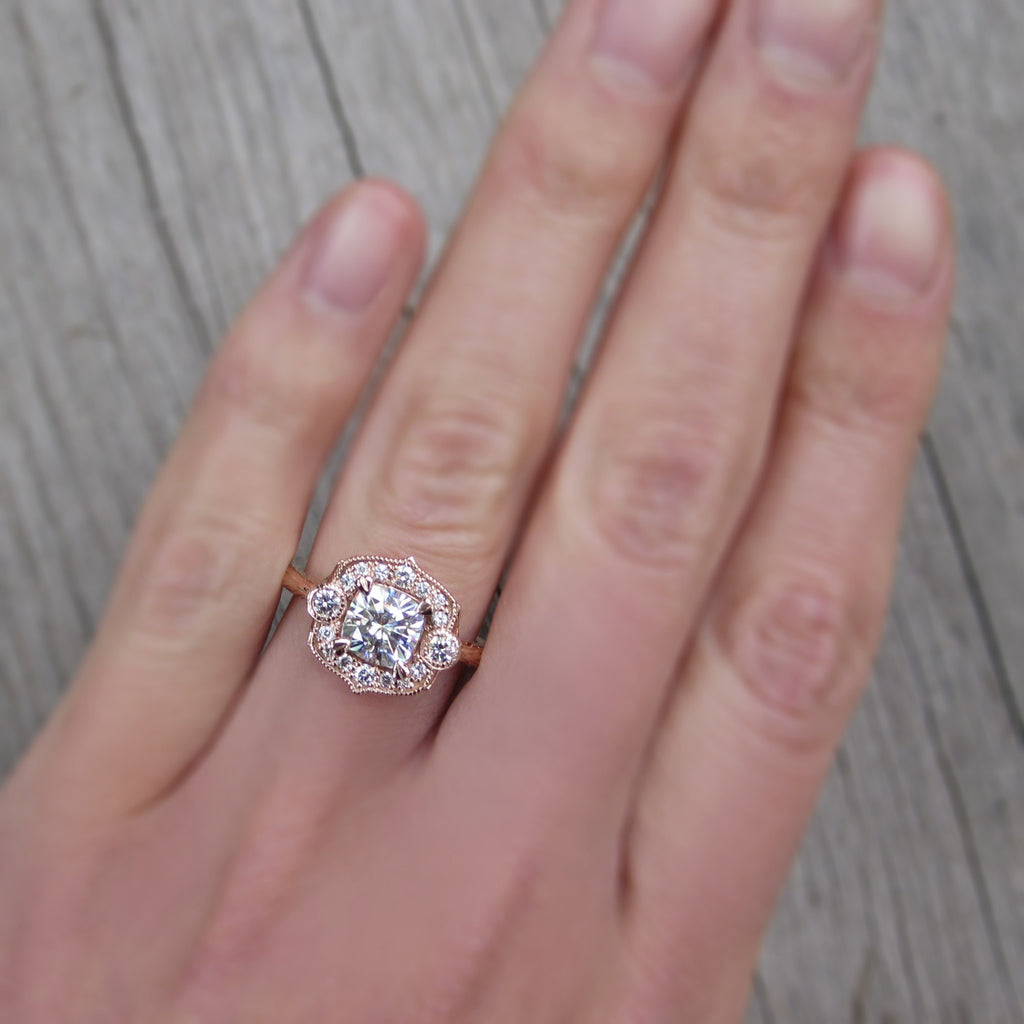 Forever One cushion cut moissanite vintage halo ring + conflict-free diamonds in rose gold
